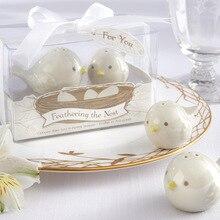 100 компл./лот = 200 шт/партия+ перьевое гнездо любовь птицы Солонка и перец шейкер свадебные сувениры и подарки