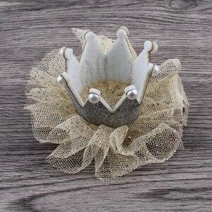 Image 4 - 30 teile/los 5 farben Newborn 3D Filz Kinder Crown + Mesh Blume Für Mädchen Haarschmuck Glitter Fühlte Krone Für ersten Geburtstag Hut