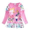 2017 Dos Desenhos Animados Baby & Kids longa com a camisa de T Para Meninas reino Ben E Holly Pouco Crianças Meninas Vestidos de Manga Longa falso dress