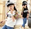 4-13 Anos crianças crianças meninas t-shirts carta primavera outono dos miúdos das crianças t camisas de manga longa