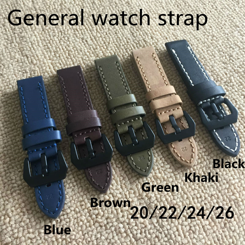 20MM 22MM 24MM 26MM Italian Calfskin Leather Strap,Blue Black Brown Green Khaki Watchband Watch Belt For General Watch Strap top grade vintage calfskin genuine leather watch strap 20mm army green tan dark blue green maroon black watchband with buckle