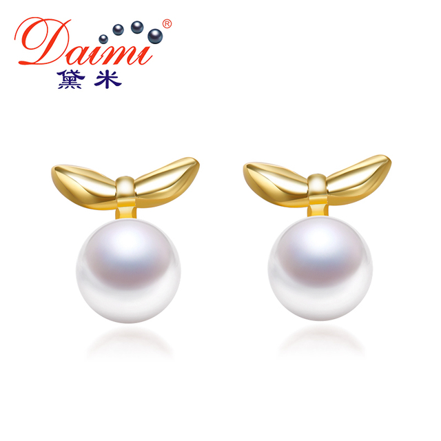 Daimi Tiny Small Leaves Earrings 6 7mm Flat Round White Yellow Pearl Sterling
