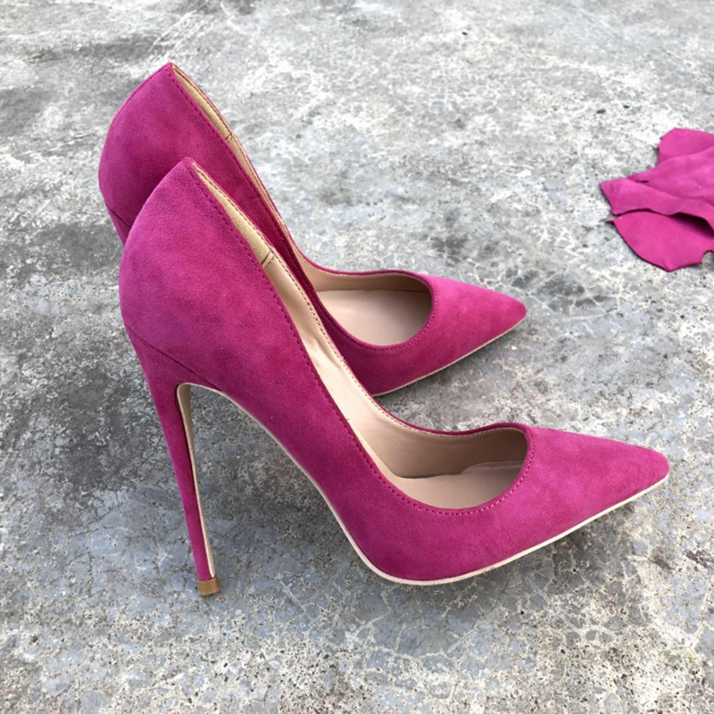 2018 fashion classics Ladies pumps Pointed Toe flock leather high heeled Women pumps shallow spring slip