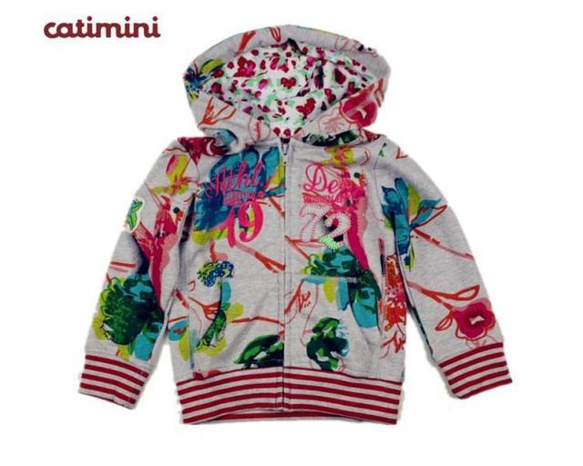 Catimini niña abrigos deportivos niños cremallera ropa superior sin forro 2013 otoño niño francesa Catimini moda camisa de sleevesweat