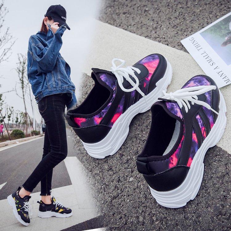 2019 nouvelle mode Automne chaussures pour femmes Dames chaussures décontractées Haute Plate-Forme chaussures de sport pour femme