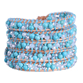 Kelitch Jewelry 1Pcs Crystal Beads Turquoise 5 Wrap Bracelet Genuine Leather Chain Bohemian Cuff Jewelry
