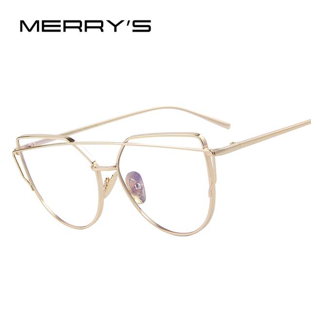 MERRY'S Mulheres Gato Olho Óculos Quadros S'7882 Twin-Vigas Mulheres Óculos Ópticos Armações De Óculos De Ouro