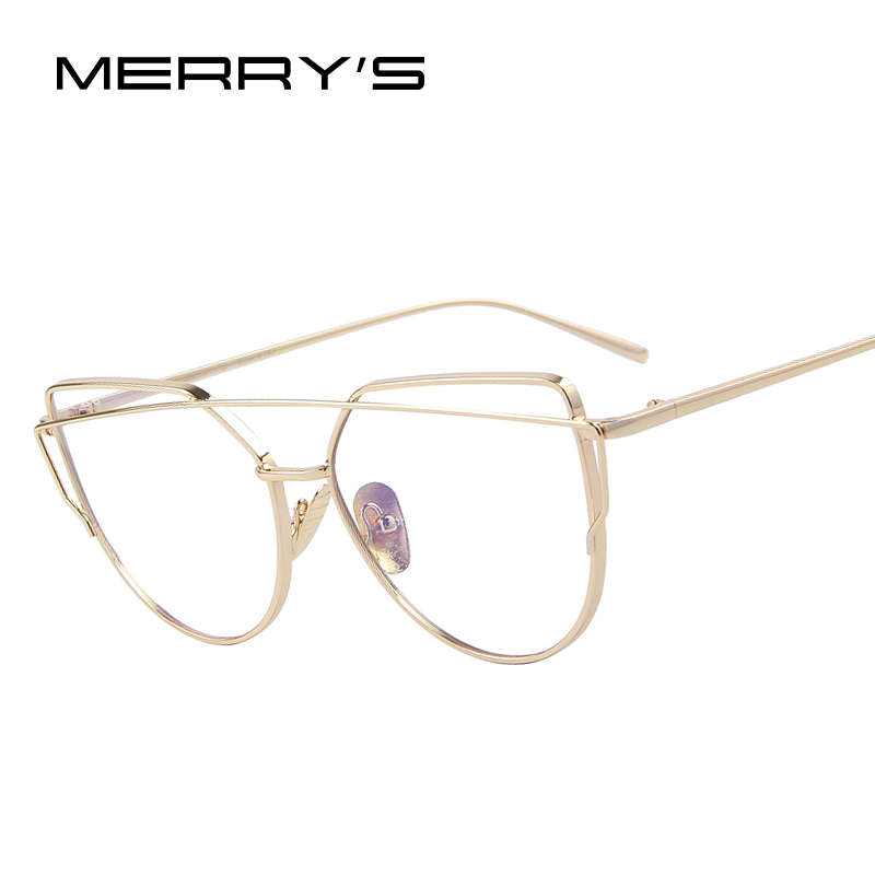 e1cffd5809d MERRY S Women Cat Eye Eyewear Frames Twin-Beams Women Optical Eyeglasses Gold  Glasses Frames S 7882