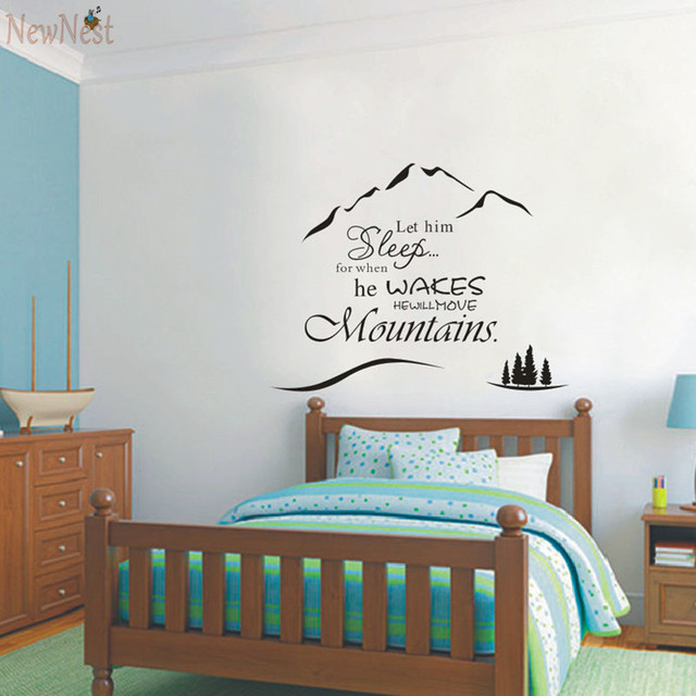 Baby Boy Decal Let Him Sleep For When He Wakes He Will Move Mountains Nursery  Childrens Part 53