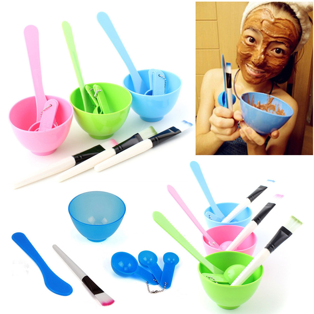 Random Facial Mask Sets Homemade Face Mask 4 in 1 DIY Tools Mask bowl + stick + Brush + Spoon Face Care Tool