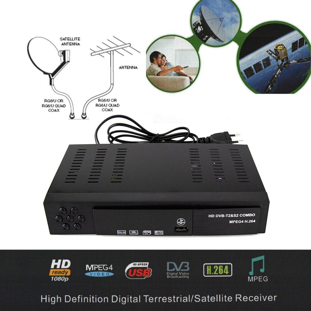 2019 Receptor Satellite Digital DVB T2+S2 TV Tuner Receivable MPEG4 DVB-T2 TV Receiver T2 Tuner Support bisskey 1080P S2 Decoder