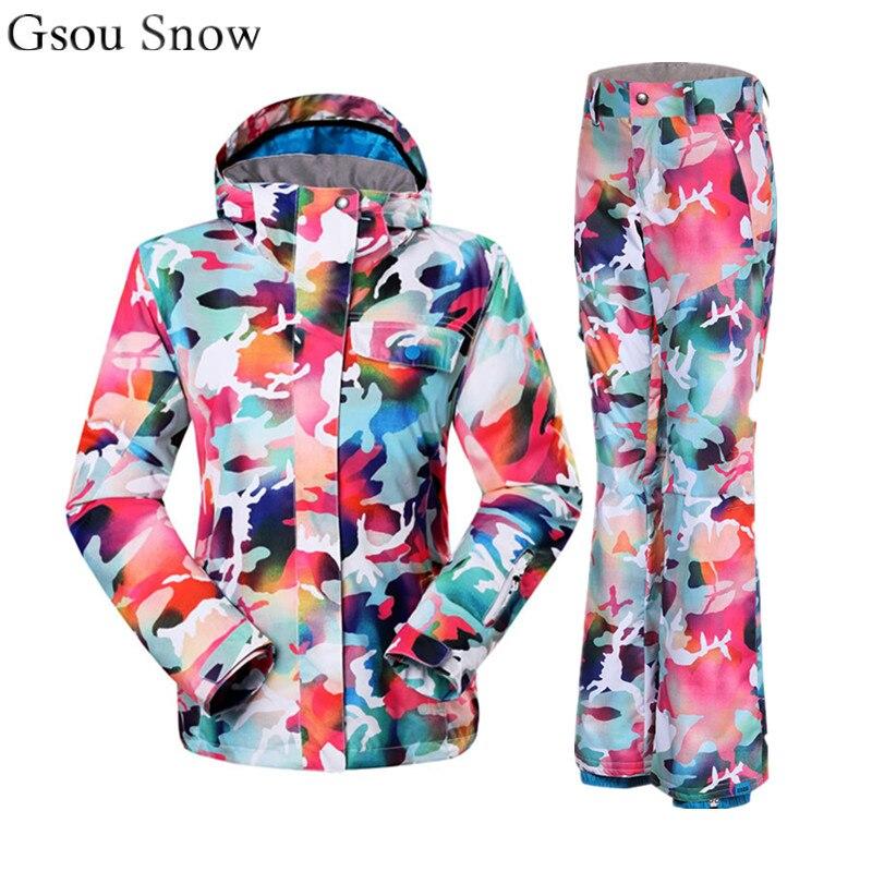 Gsou Snow Colorful ski suit female cool snowboard jacket and pant women mountain skiing set veste pantalon ski femme advances in heterocyclic chemistry 108