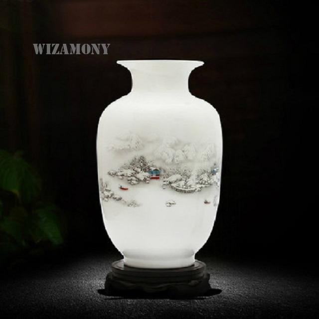 Jingdezheng Vintage Chinese Wind Home Decoration Ceramic Vase White Porcelain Flower Receptacle Vintage Flower Vases For Homes