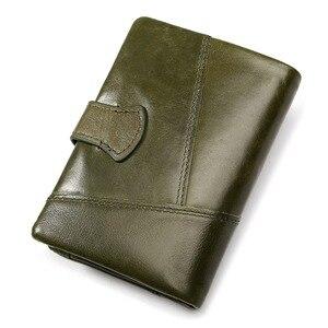 Image 2 - Женский кошелек KAVIS, кошелек из натуральной кожи, кошелек для монет и маленький кошелек, кошелек для денег, зеленый, на молнии, держатель для карт, Perse