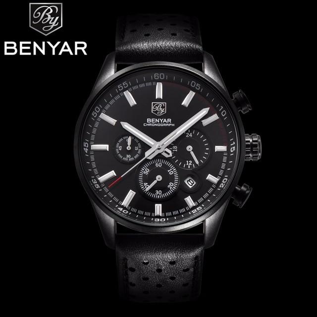 4f49c9ad587 2017 NEW Arrive Mens Watches Top Brand Luxury BENYAR Sport Watch Men  Leather Strap Chronograph Waterproof Quartz Wristwatches