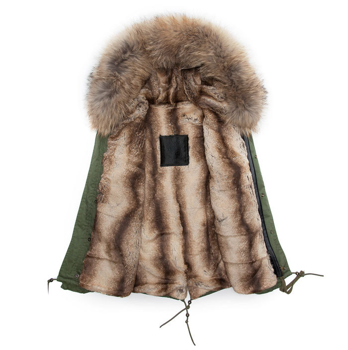 Hot Sale Parkas Casual Army Green Faux Fur Hooded Lined Military ...