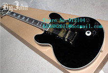 free shipping new hollow 6 strings electric guitar in black with mahogany body for jazz music +foam box J-24