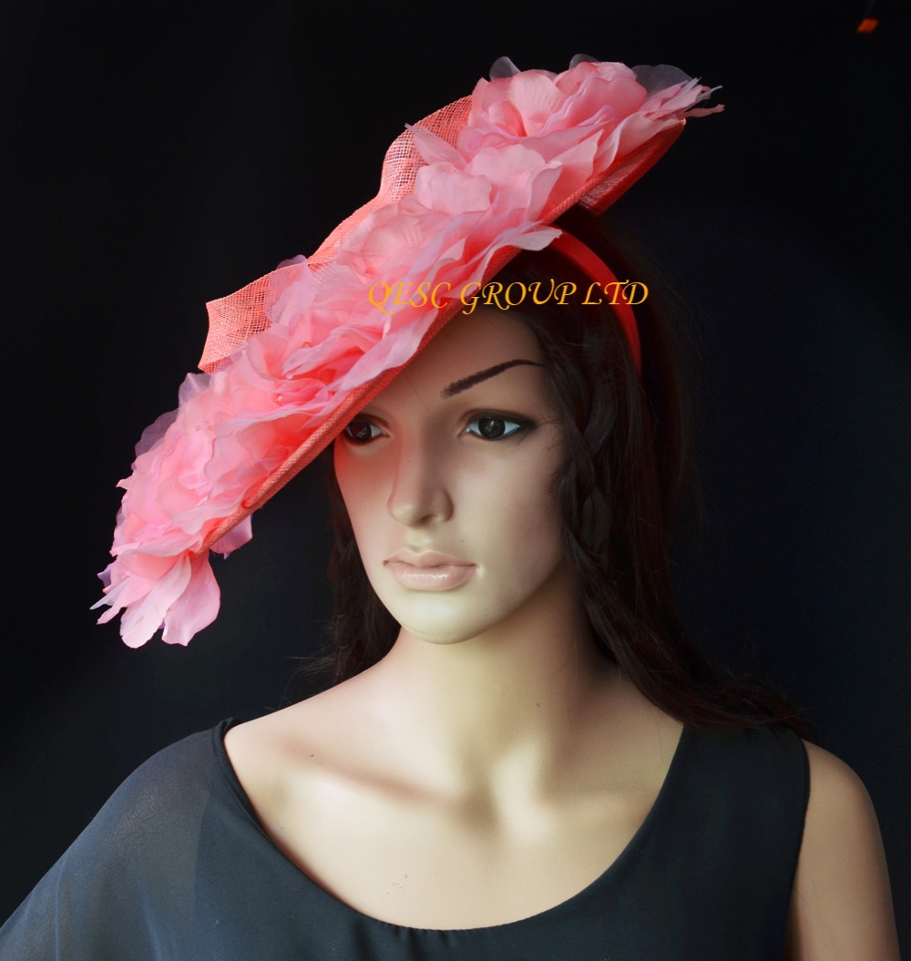 Aliexpress Buy 2018 New Coral Pink Sinamay Hat Saucer