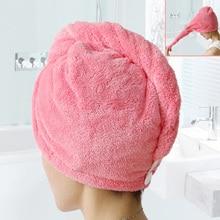 Hot Women Bathroom Hair Towel Cap Super Absorbent Quick-drying Plush Microfiber Bath Dry Caps Salon Shower