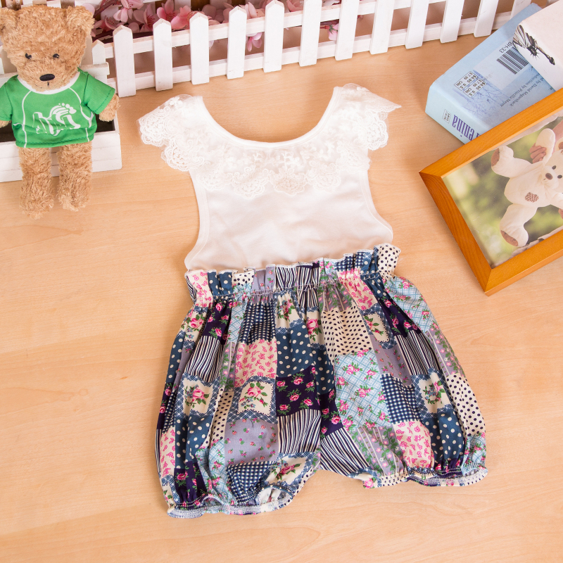 2ccb14cb119 Baby girl Floral print bubble romper cherry Ruffle Romper Baby Girl  birthday romper Sunsuit