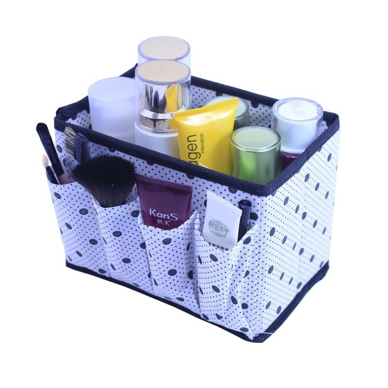 Cute Dots Folding Make Up Brush Organizer Kosmētikas šķidrās uzglabāšanas kaste Neaustie biroja guļamistabas galdi