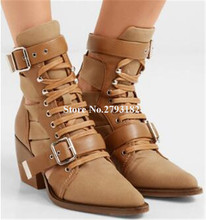 Women New Fashion Pointed Toe Leather Chunky Heel Short Boots Lace-up Buckle Cut-out Ankle Booties Knight Boots