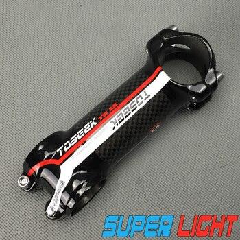 Súper ligero marca Toseek aleación y embalaje carbono bicicleta Stem Road/mtb Bike 31,8*80/90/100/110mm sólo 105g Color Rojo