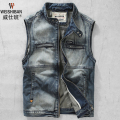 Plus Size Men's Denim Vest 2016 New Style Mens Fashion Slim Zipper Vests Vintage Sleeveless Jeans Jackets M-XXXL A1430