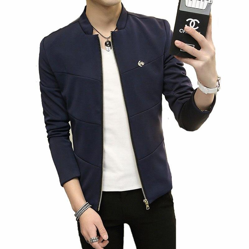 Slim Jackets Mens Stand Collar Coat Jaqueta Masculina Veste Homme ...