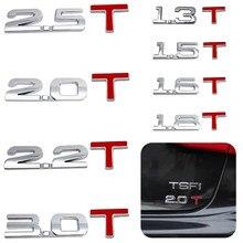 1.3/1.5/1.6/2.0/2.2/2.5/3.0 t deslocamento marca emblema 3d adesivos de carro automóveis motocicletas decoração acessórios