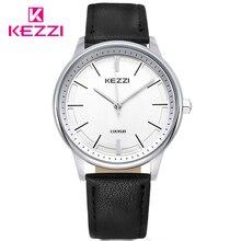 Kezzi mujeres de moda vestido de cuarzo reloj de señora reloj de los hombres correa de cuero mujer reloj de pulsera de las mujeres relojes reloj. Relojes del amante