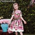 W. l. monsoon vestido de encaje muchacha de la princesa 2017 niñas vestidos de diseñador con pink rose floral impreso vestidos de los niños para las niñas ropa
