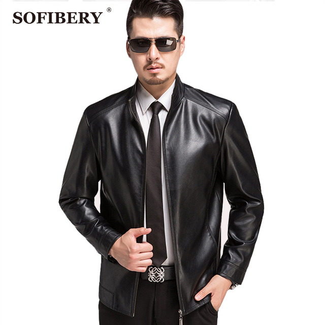 SOFIBERY New Autumn and Winter Mens Leather Jackets and Coats Business Casual Faux Leather Jacket Cozy Warm Clothing 1503