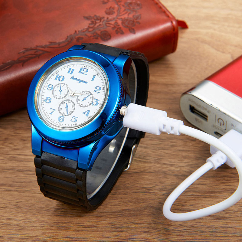 16 optional 2 in 1 Casual USB Lighter Men's Quartz Wristwatches with Windproof Flameless Cigarette Cigar Lighter Watches men 41 lighter watch men s sports casual quartz watches with leather strap windproof flameless cigarette lighter usb charging f665