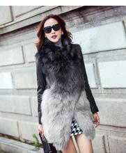 Hot Luxury Genuine Fox Fur long coat natural sheep Soft Leather Patchwork Thick outwear jacket Women's Winter overcoat real fur