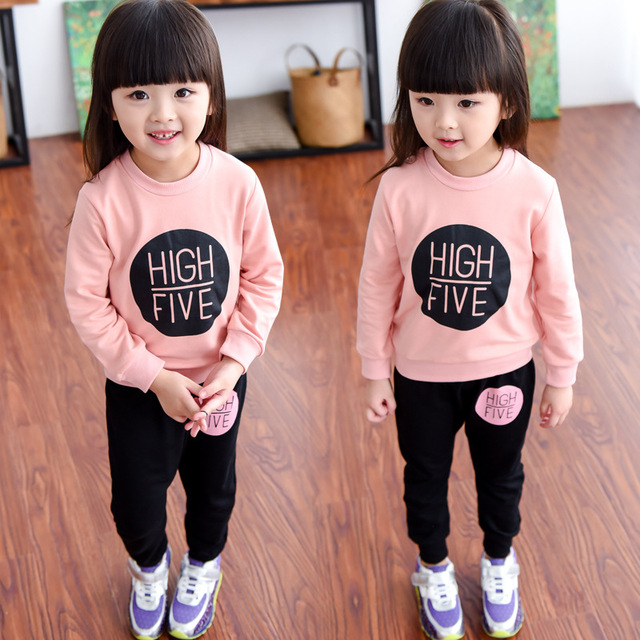 2016 Spring Autumn Korean girls cotton clothes sets Baby child long-sleeved sweater casual pants two-piece suit sweatshirt tops