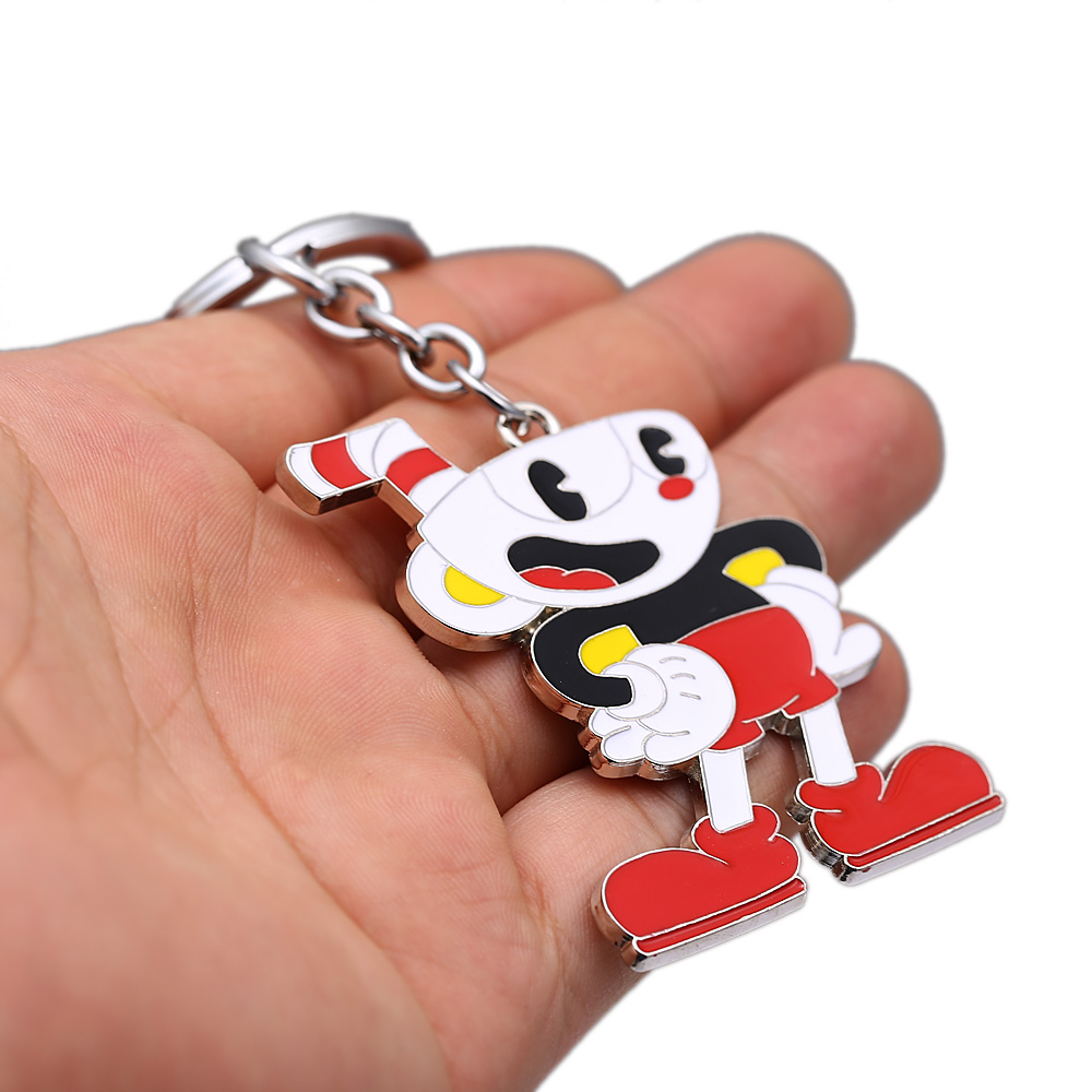 US $2 38 15% OFF|Game Cuphead Keychain Cup Head Key Chains Metal Keyrings  Porte Clef Rat Key Holder Keyring Kids Gift Men Jewelry-in Key Chains from