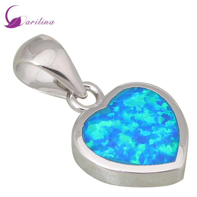 High quality suppliers 925 sterling silver jewelry Fashion Jewelry Heart Blue Fire Opal pendant P169