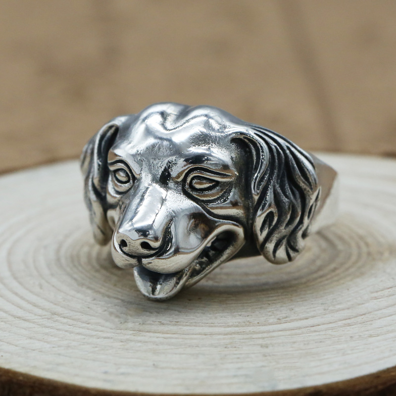 FNJ Punk Animal Dog Ring 925 Silver Jewelry New Fashion S925 Sterling Thail Silver Rings for