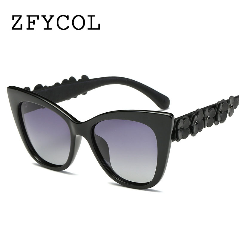 ZFYCOL Official Store ZFYCOL Cat Eye Sunglasses Women Luxury Brand Design Vintage Polarized Sun glasses For Female Flower Decoration Lady Eyeglasses