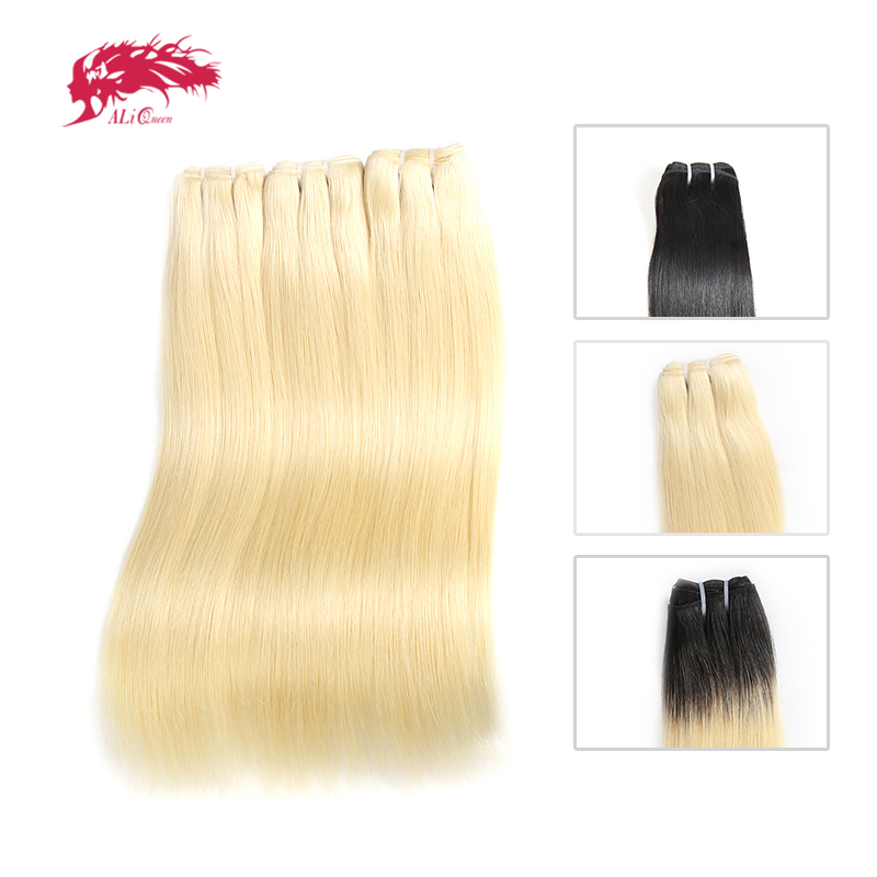 Ali Queen Hair One Doner Brazilian Straight Virgin Human Hair Weaves Bundles 3 Pcs Lot Blonde 613/Natural Black/1b-613 In Stock