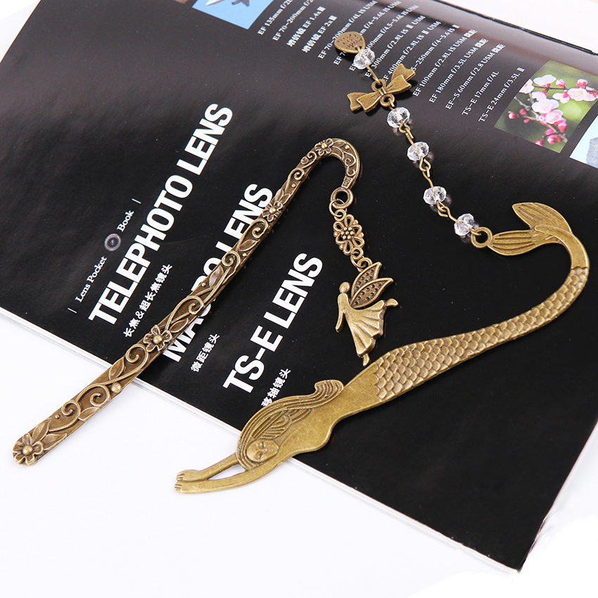 1PC Retro Alloy Metal Bookmark Mermaid Beaded Angels Butterfly Fashion Vintage Bookmark Book Mark Office Supply