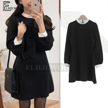 97ba55138 Negro vestidos de las mujeres de cuello blanco Casual Preppy diseño de  estilo temperamento coreano dama poco vestido negro 7311