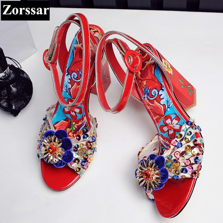 ФОТО fashion women ankle strap shoes pumps shoes womens rhinestone high heel sandals Red, blue 2017 new arrival woman summer shoes