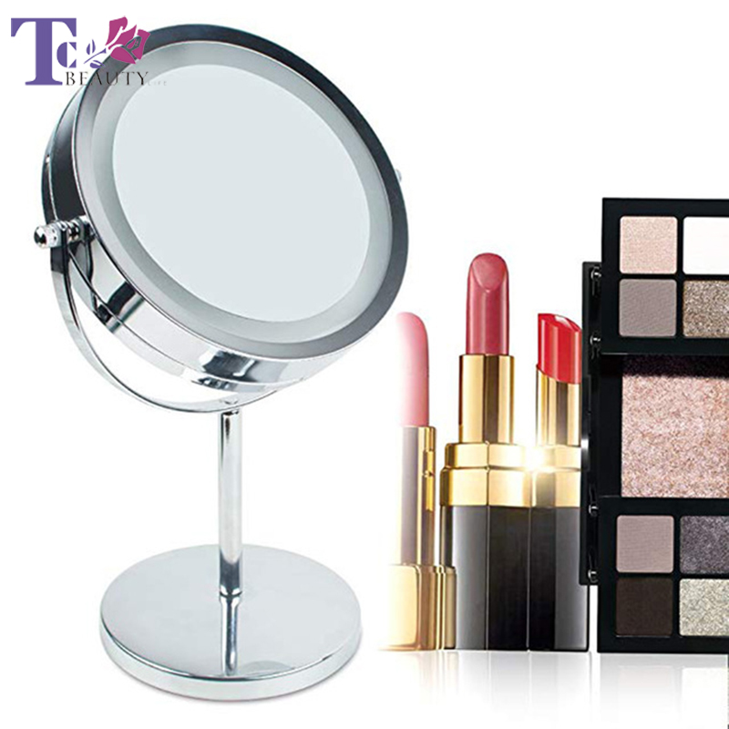 LED Makeup Mirror With Light 7 Inch 10X Vanity Double Side High Definition Clarity Cosmetic Mirror
