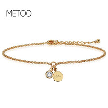 METOO Letter Zircon Bracelet & Bangle for Women Girl Fashion 3 Colors Adjustable Name Bracelets Baby Jewelry Female Gift for Mom(China)