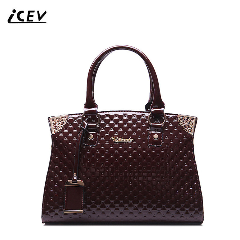 ICEV New Fashion Luxury Handbags Women Bags Designer High Quality Patent Leather Handbag Women Leather Handbags Office Totes Sac icev new brands simple classic female cow leather designer handbags high quality genuine leather handbags women leather handbags