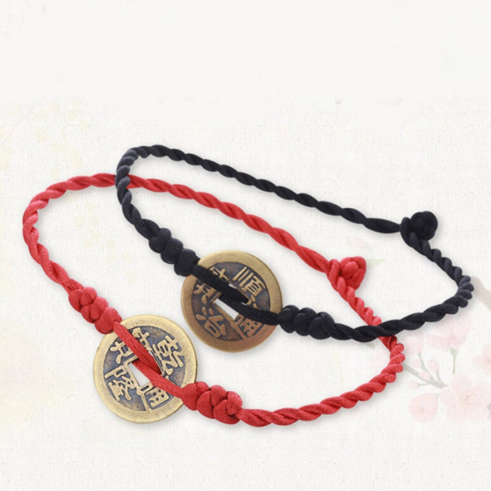 Women Men Rope Chain Hand Made Red rope ancient money anklet Sandal Beach Foot Jewelry Gift