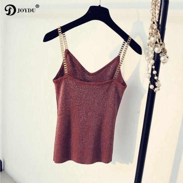 JOYDU Korean Sexy Designer Knitting Camis 2018 New V Neck Chain Novelty Camisole Summer Tank Tops Fashion Sleeveless Women Top