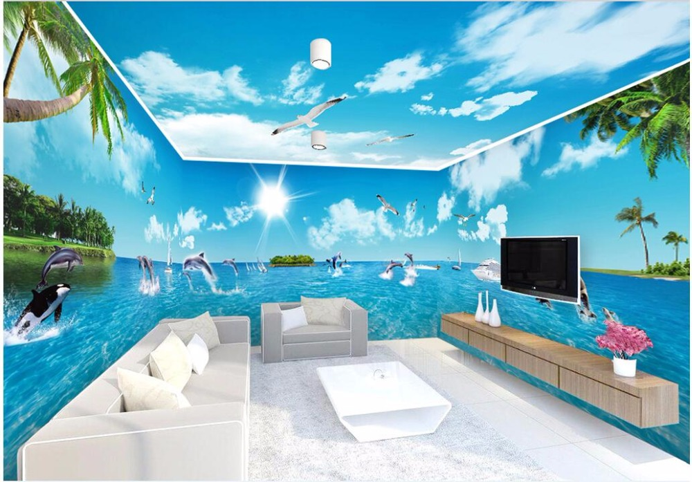 3d Room Wallpaper Custom Photo Blue Sky White Cloud Ocean